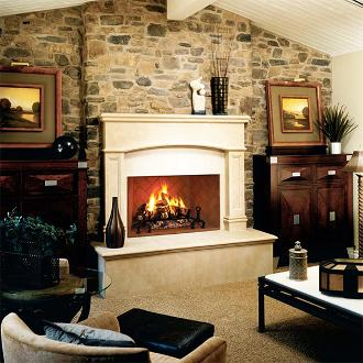large indoor fireplace