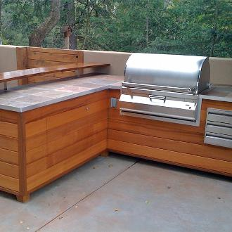 wooden barbecue island