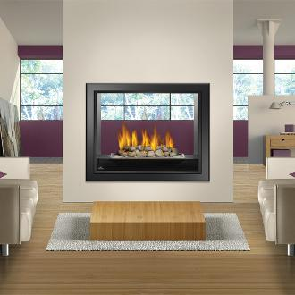 large through wall indoor fireplace