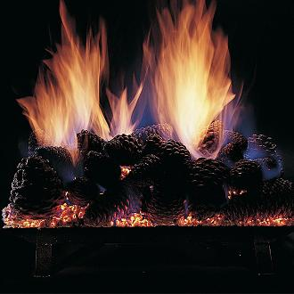pine cones on hearth