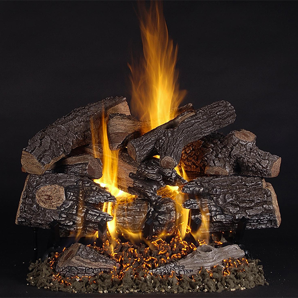 fire logs on hearth