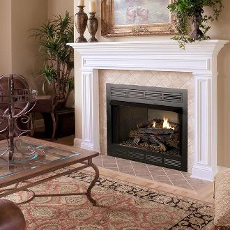 large traditional open fireplace
